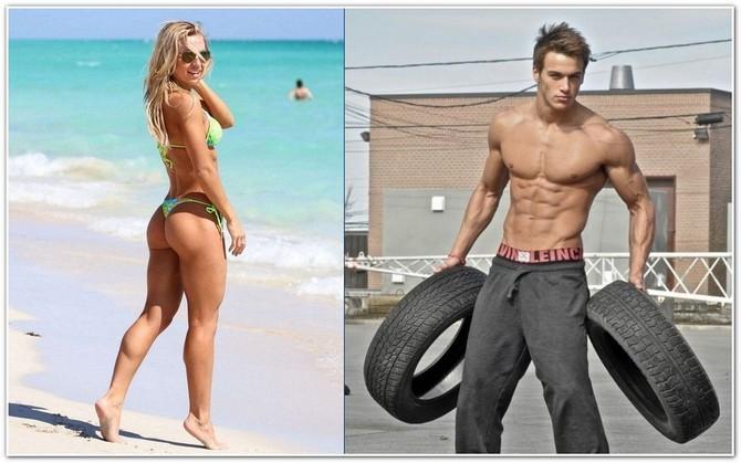 Женщина и мужчина в отличной физической форме