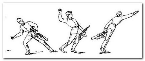 метание гранаты во время войны