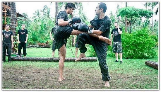 двое мужчины на поляне занимаются тайским боксом