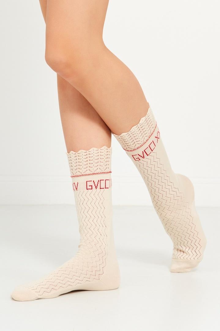 Gucci белые ажурные женские носки
