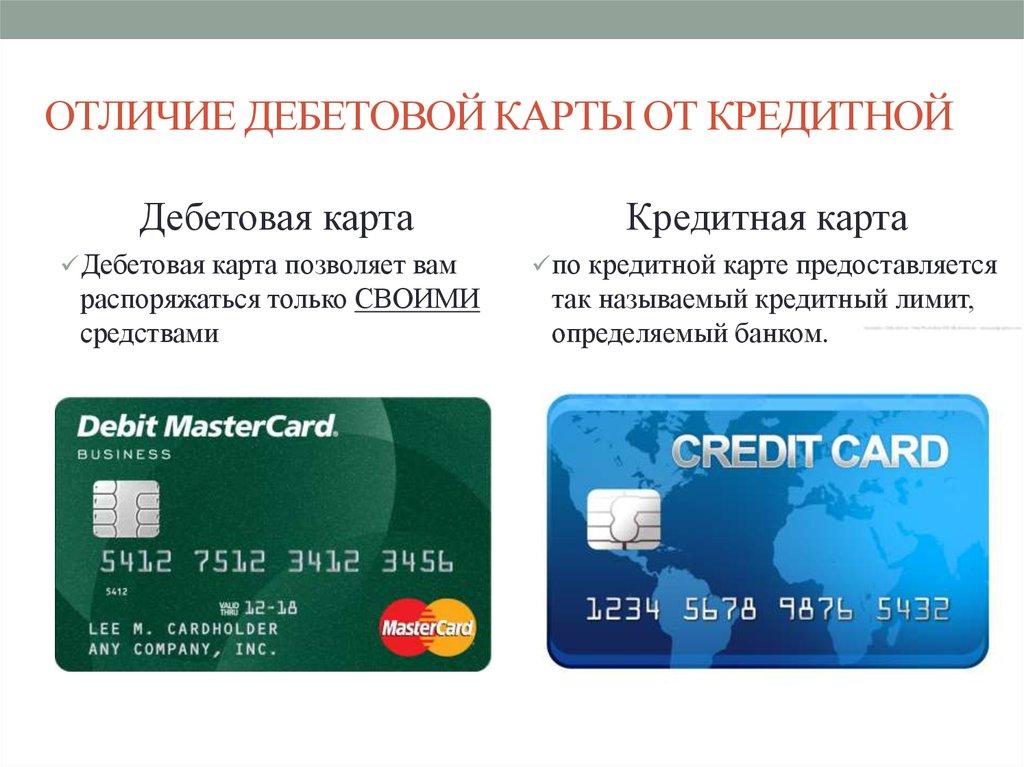 Что такое дебетовая и кредитная карта