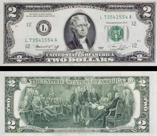 Купюра номиналом в 2 доллара с обеих сторон
