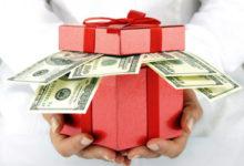 Подарок с долларами