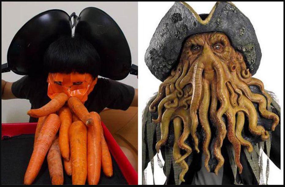 Человек с бородой из морковок и человек-осьминог