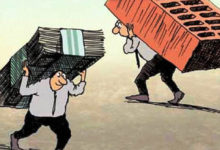 """Карикатура """"Человек с деньгами и с кирпичом"""""""