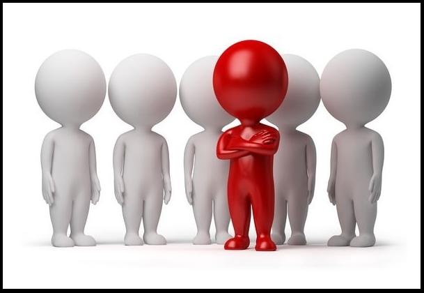 Красный человечек на фоне белых