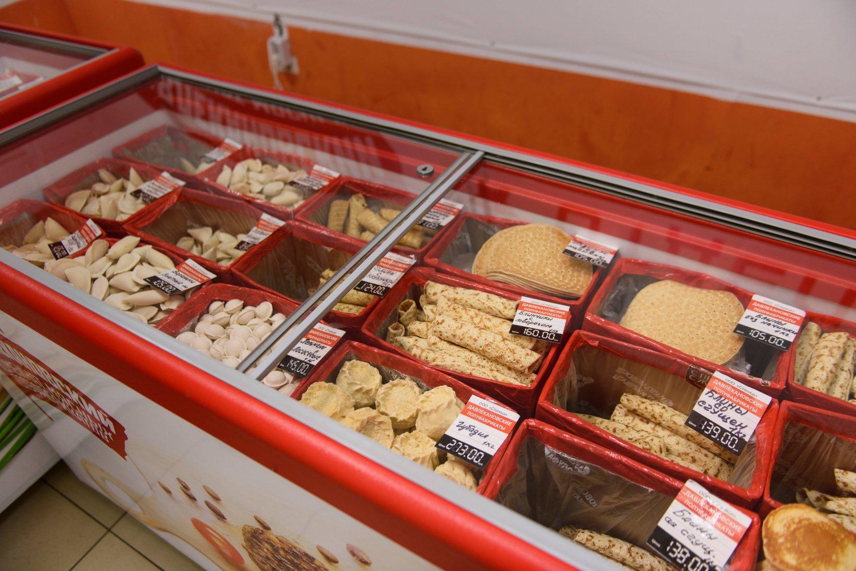 Полуфабрикаты в морозильной установке