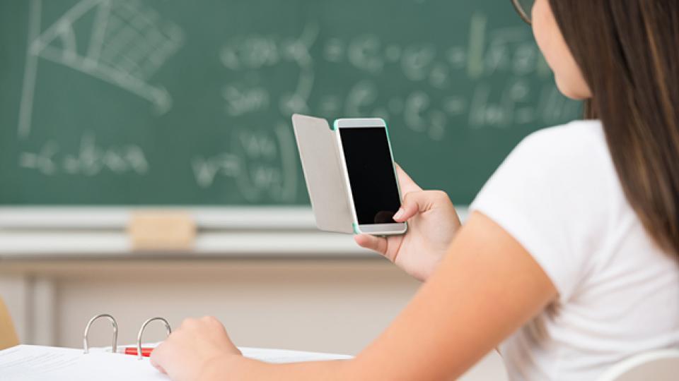 Ученица держит в руках смартфон