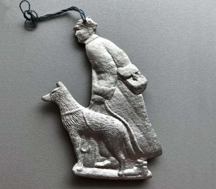 Елочная игрушка СССР пограничник с собакой