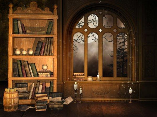 Старинная библиотека и окно с видом на горы и деревья