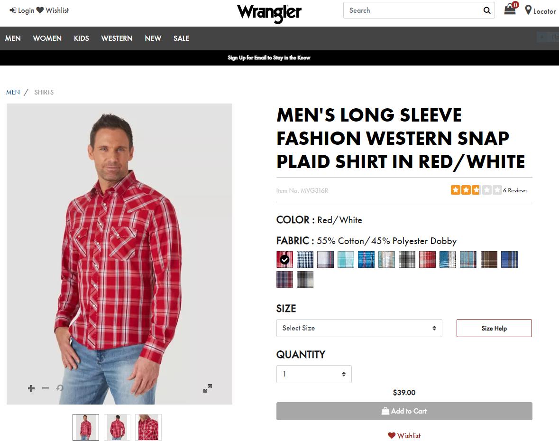 Рубашка Wrangler на официальном сайте