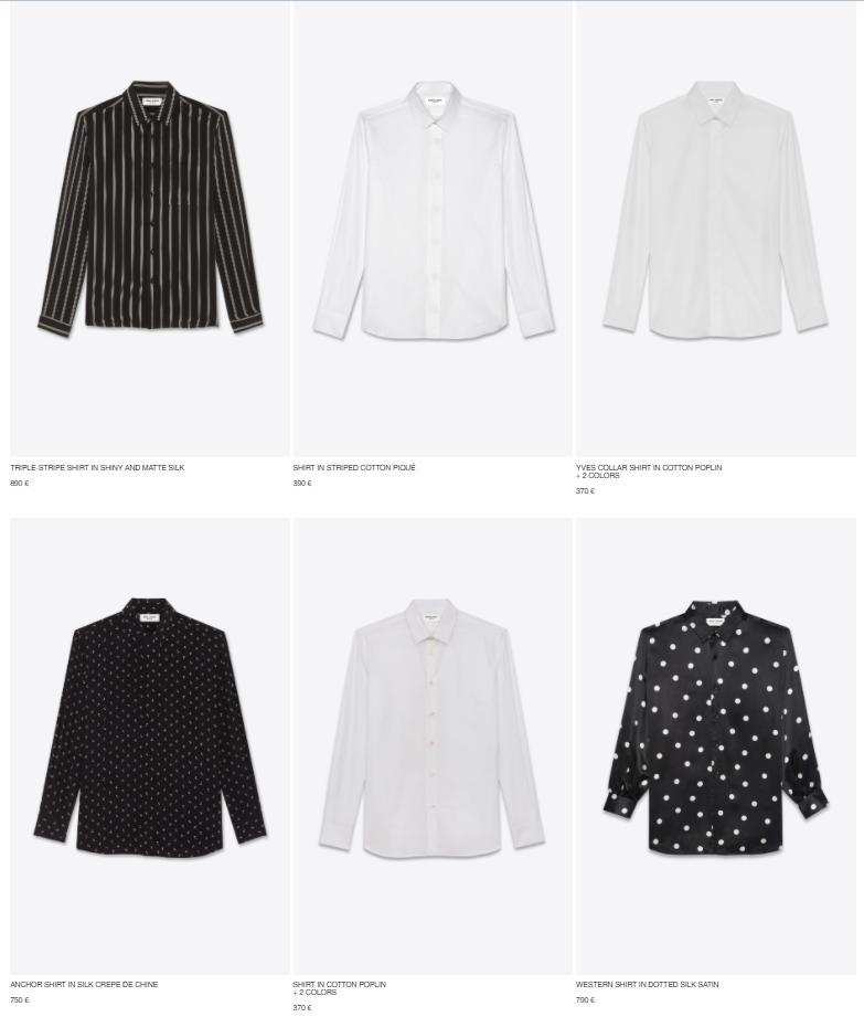 Рубашки YSL на официальном сайте