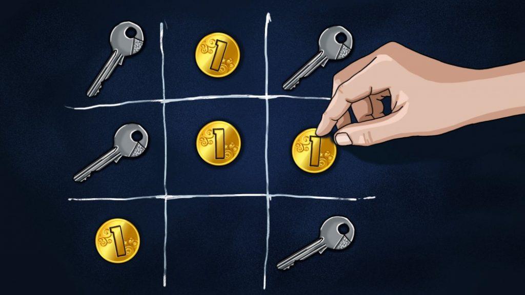 Игра в крестики-нолики ключами и монетами