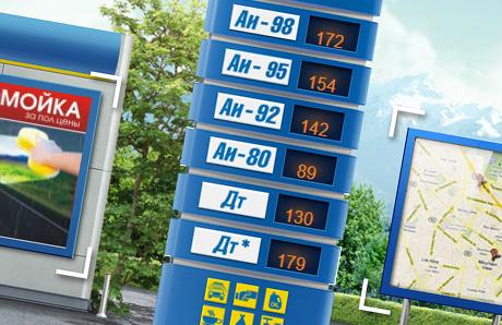 Цены на бензин на табло АЗС