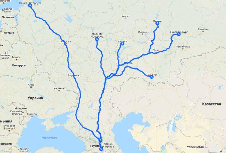 Маршруты автодорог из крупных городов России в Грузию