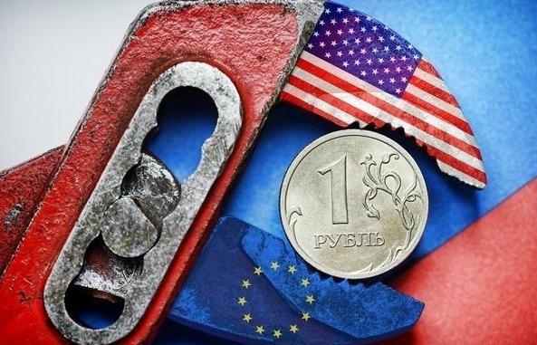 Железный рубль в тисках, окрашенных в цвета флага США и ЕС