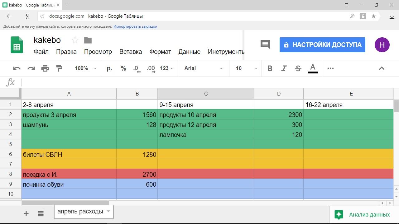 Таблица Какебо в электронном формате Excel