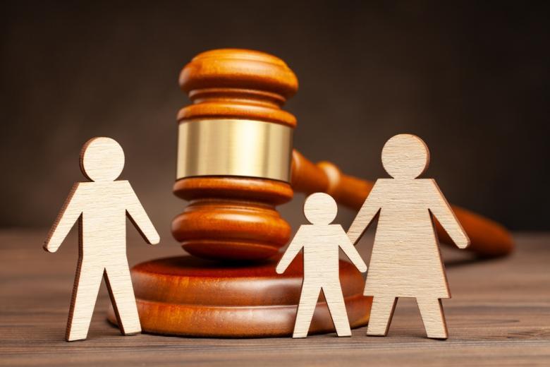 Фанерные фигурки семьи на фоне судейского молотка
