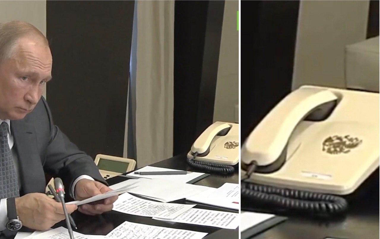 Путин в своем кабинете и его стационарный телефон крупным планом