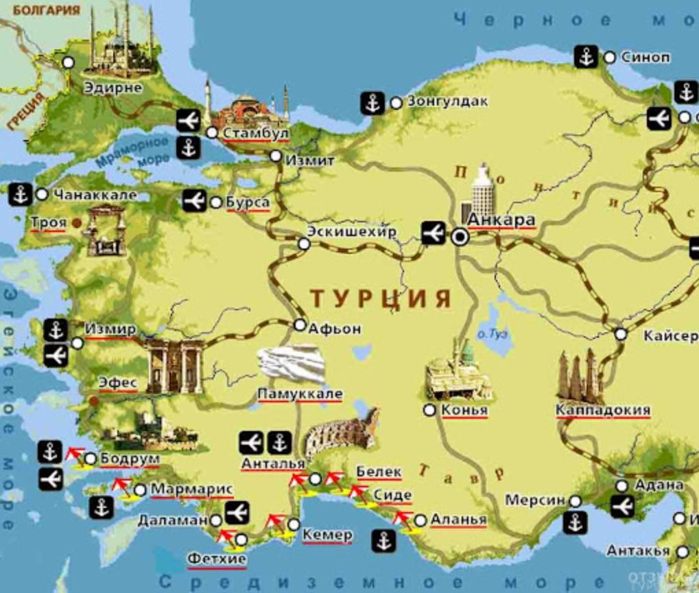 Турецкие достопримечательности на карте