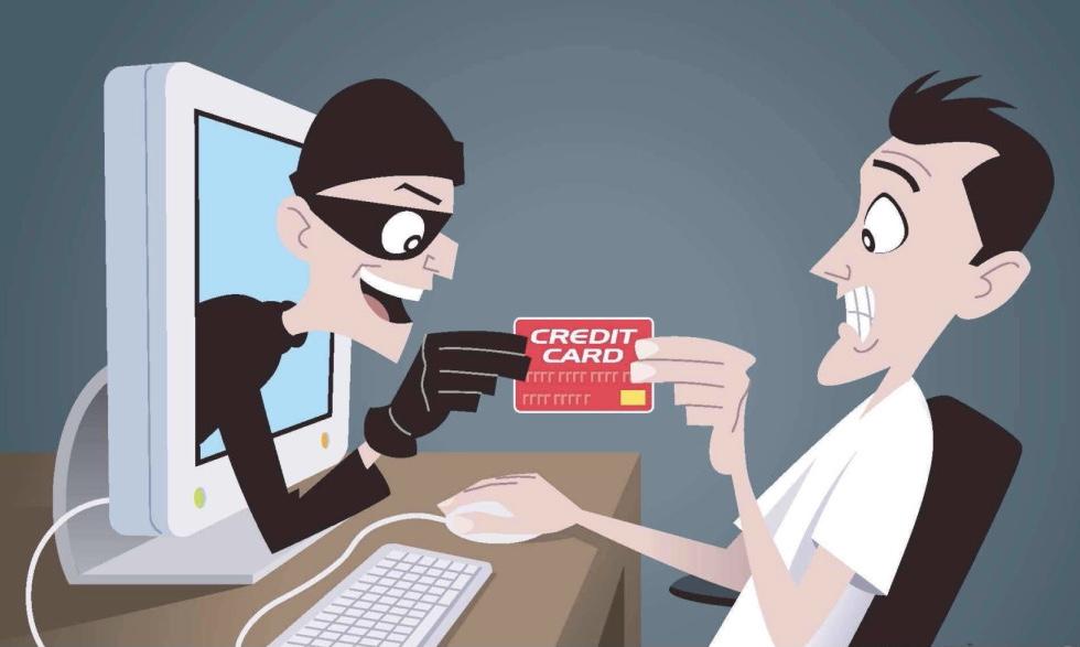 """Карикатура """"Мошенник из ПК отбирает карту у покупателя"""""""