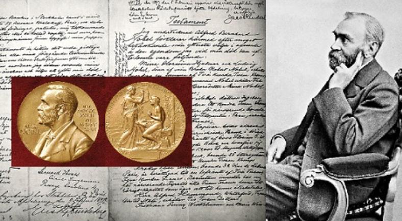 Медаль, рукопись и черно-белое фото Нобеля